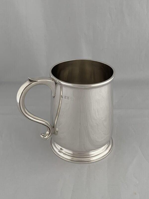 Edwardian Antique Silver PINT MUG TANKARD 1907 London C S HARRIS Sterling Mug