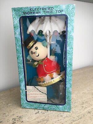 Vintage Christmas Electrified Snowman Tree Top w/ Umbrella in Original Box