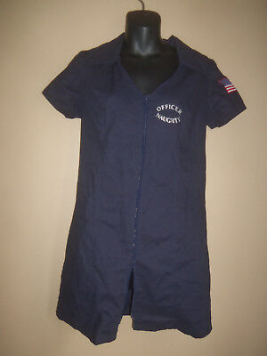 SEXY CHARADES OFFICER NAUGHTY POLICE COP DOUBLE ZIP BLUE DRESS COSTUME SIZE M - Officer Naughty Costume