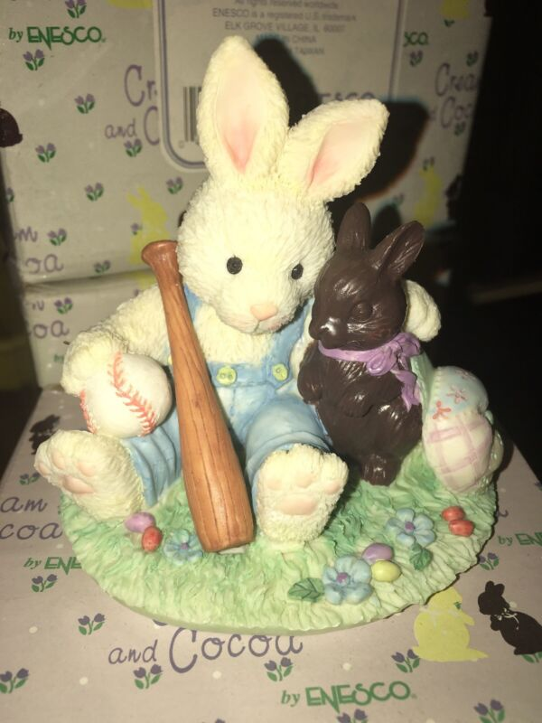 1994 Enesco Cream and Cocoa 105066 Baseball Bat & Ball Figurine Spring Training
