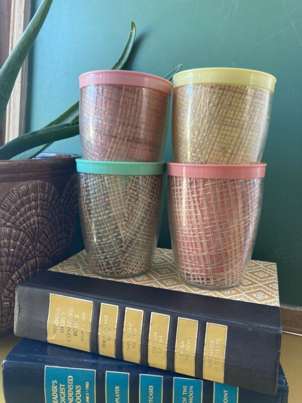 Set of 4 Vintage Retro Wicker Woven Look Plastic Drinking Water Glasses Cups