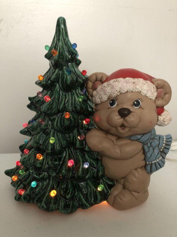 Ceramic Christmas Tree With Teddy Bear Lights Up Vintage