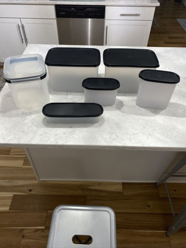 LOT OF 6 Tupperware Modular Mates Containers With Black Seal Lids