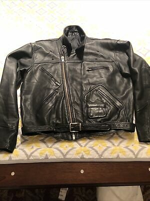 MENS POLO RALPH LAUREN(possibly). BLACK LEATHER JACKET Size 48 D-POCKET RARE .
