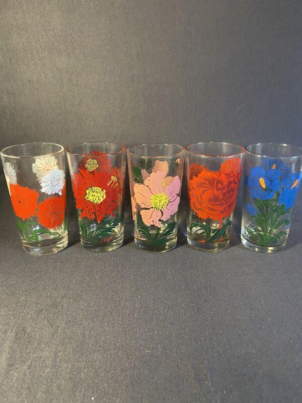 "5 Vintage Boscul Peanut Butter flower drinking glasses 5"" Bellflower, Rose, Carn"