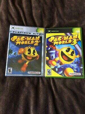 🟡🟡 Pac-Man World 3 &  2 Platinum Hits! Microsoft Xbox Tested! Lot Of 2 🟡🟡