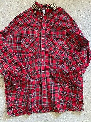 NWOT R13 Flannel red shirt plaid 100% cotton leopard collarsmall
