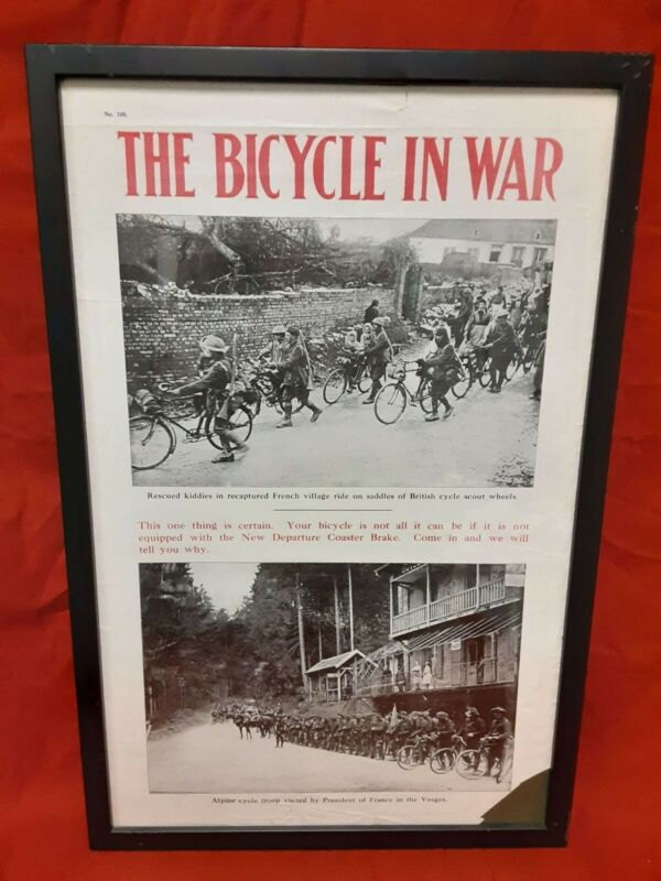 New Departure WWI Military Bicycle In War Coaster Break Ad Poster Phil Eckman