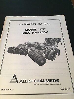 Original Allis-chalmers Kt Disc Harrowtm 485 Manual Ac