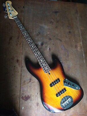 Lakland Bass Guitar - Skyline Series 44-60 tobacco sunburst, with soft case