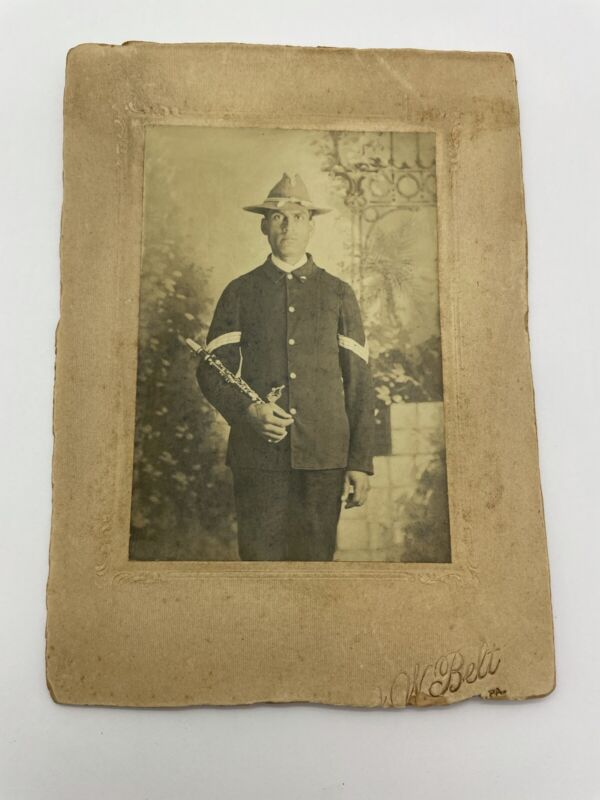 Vintage Cabinet card photograph soldier / Musician Spanish American War