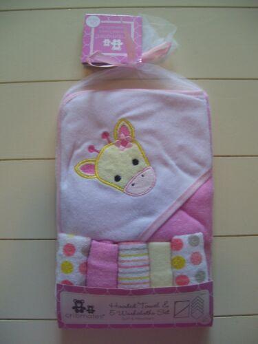 Girls Cribmates 6 Pc Giraffe Solid Dot Stripe Hooded Bath Towel & 5 Washcloths