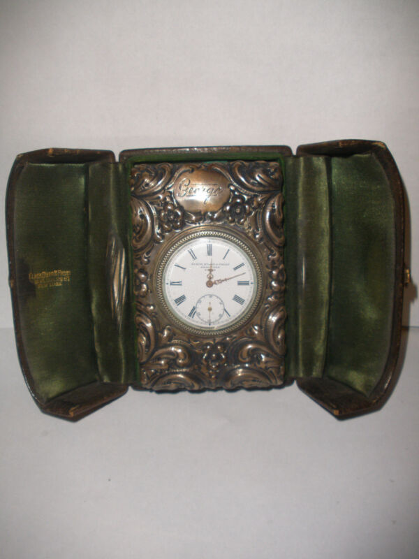 Antique Sterling silver Black Starr & Frost  New York Swiss travel clock in case