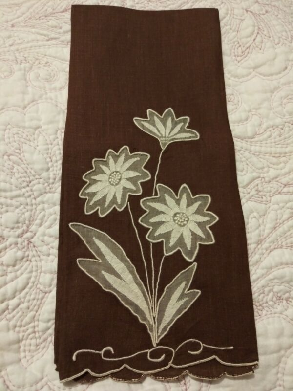 "Gorgeous Dark Brown Madeira Shadow Work & Embroidered Linen Towel 20.5"" x 13.5"""
