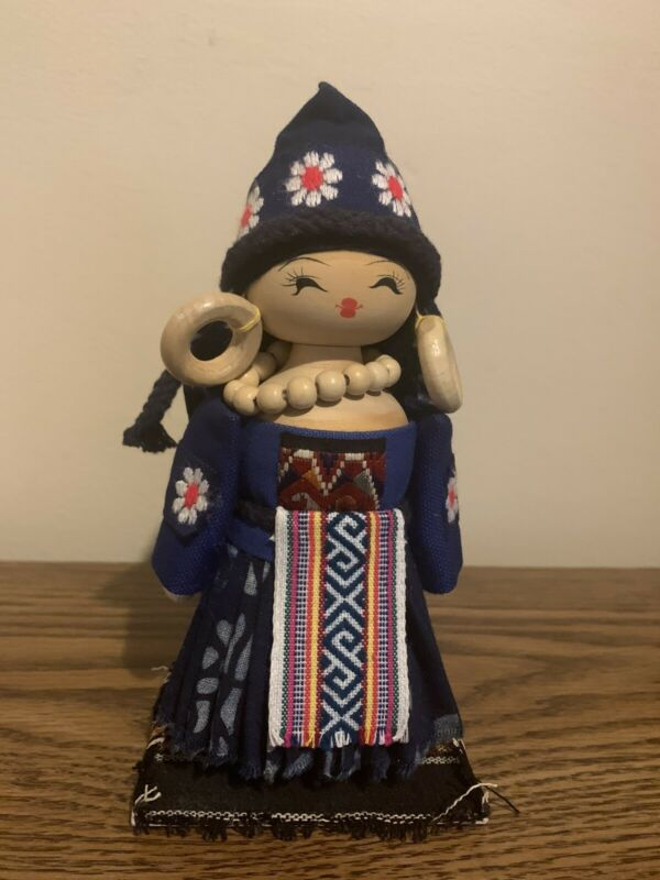 Chinese Wood And Cloth Doll / Miao Ethnic Group / Hand-Made In China