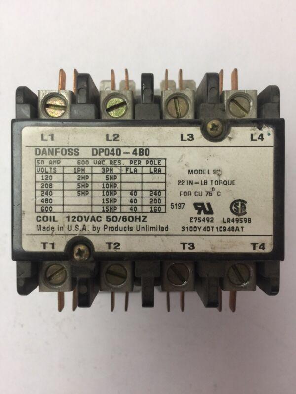 DANFOSS DP040-4BO CONTACTOR 600VAC 50AMP 15HP 3PH 4POLE COIL 120VAC 50/60HZ