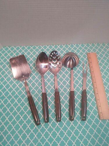5 Vintage Stainless Steel Plastic Wood Toned Handled Kitchen Utensil Set USA