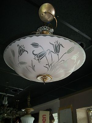 ART DECO 1930'S 40'S HANGING FROSTED GLASS LIGHT FIXTURE