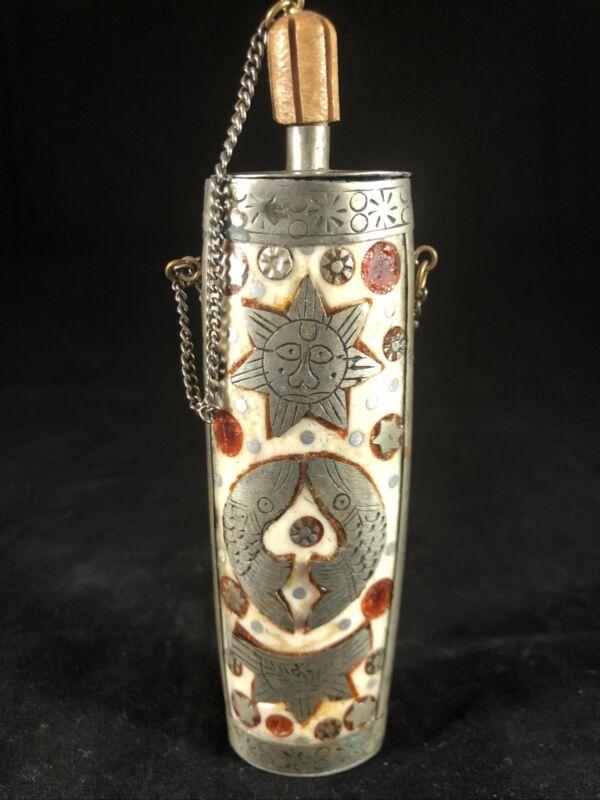 "Vintage Antique 5"" Snuff Box Bone ? Silver ? Overlay Chain"