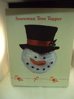 """NEW Snowman Christmas Tree Topper Top Hat Cracker Barrel Holiday Decor Large 16"""""""