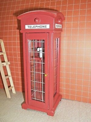 PHONE BOOTH  - RED  -   DOLL HOUSE MINIATURE