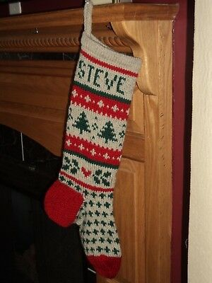 EVERGREEN  Christmas Stocking -100 % Wool - Hand Knit - Can be personalized