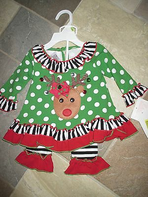 NWT Bonnie Baby, 3-6 M Christmas Holiday Jeweled Reindeer Polka Dot 2 Pc.Outfit  ()