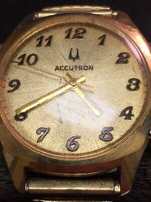Vintage Bulova Accutron 2180 Tuning Fork Wrist Watch 10K Gold Rolled - runs well