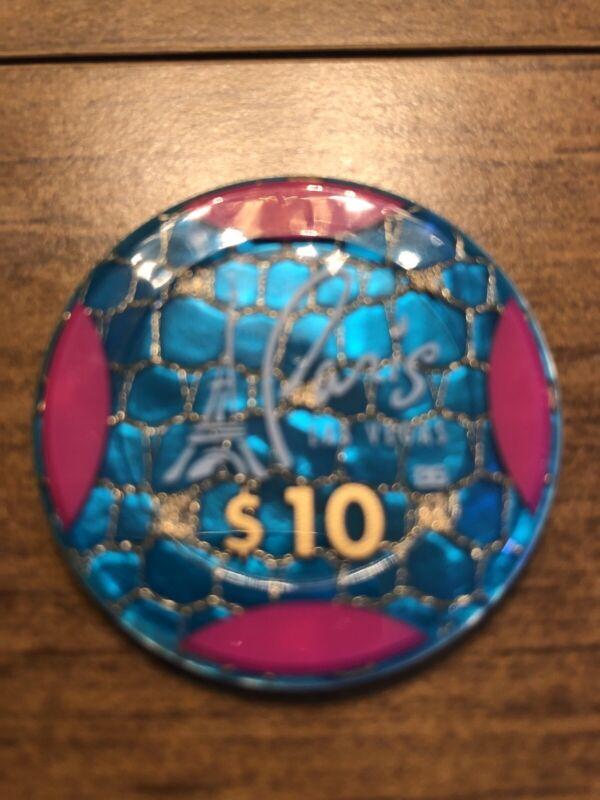 $10 paris jeton pink areas in blue las vegas nevada  casino chip super rare
