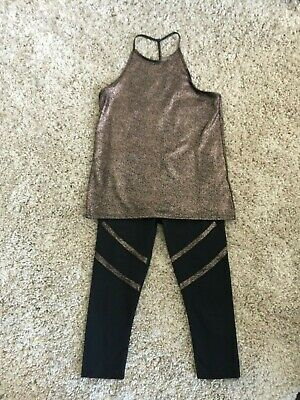 Fabletics Black and Rose Gold Active Outfit - Size S / M - Tags Taken Out