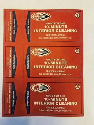 3 Delta Sonic Car Wash 10-minute Interior Cleaning Certificates-never expire