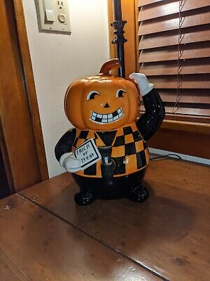 Halloween Ceramic Drink Dispenser 3 piece Pumpkin Head Figure Very Unusual