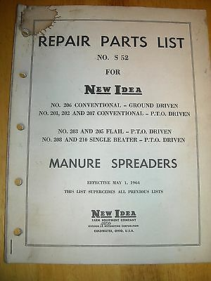 1964 New Idea Manure Spreaders No S 52 Repair Parts List Used