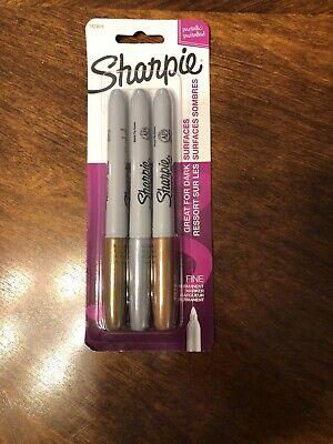 Sharpie Metallic Gold Silver Bronze Permanent Markers 3 Pk Fine Tip Opaque Ink