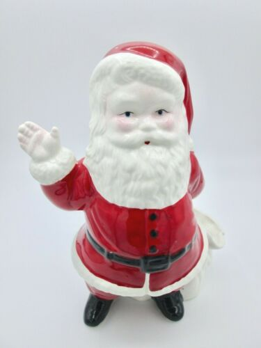 Vintage Waving Santa Claus Planter Toy Sack Bag Ceramic Christmas Decor Figurine