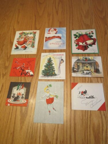 Vtg Art Deco Old Fashioned Christmas Cards Pop Up Santa Bells Cat Dog 1930
