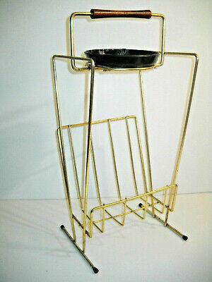 Vintage Mid Century Modern Gold Wire Magazine Ashtray Rack Stand 1960 RETRO