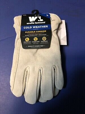 Wells Lamont Cold Weather Durable Cowhide Warm Thinsulate Insulation Gloves L
