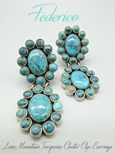 Federico Jimenez-Repeat Design-Lone Mountain Turquoise Cluster-925 CLIP Earrings