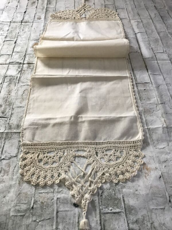 FAB Antique Victorian Handmade Ecru Crochet Lace & Linen Wedding Runner or Towel