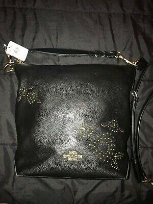 COACH Black Leather ABBY DUFFLE HEART BANDANA RIVETS Shoulder Bag F46287