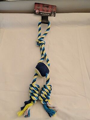 New Double Tug Fetch Toss Pull Ball & Rope Blue / Green Pet Dog Puppy Toy