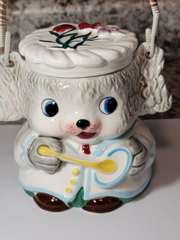 Vintage Ceramic Anthropomorphic Dog Cookie/Biscuit Jar With Lid & Handle