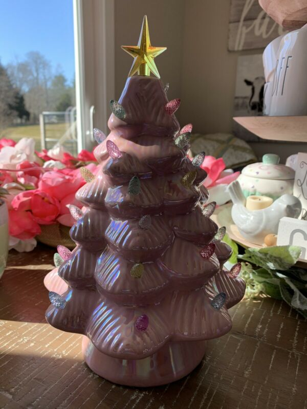 """Mr. Cottontail 12"""" Pink  Light Up Battery Operated Easter Ceramic Tree Nostalgic"""