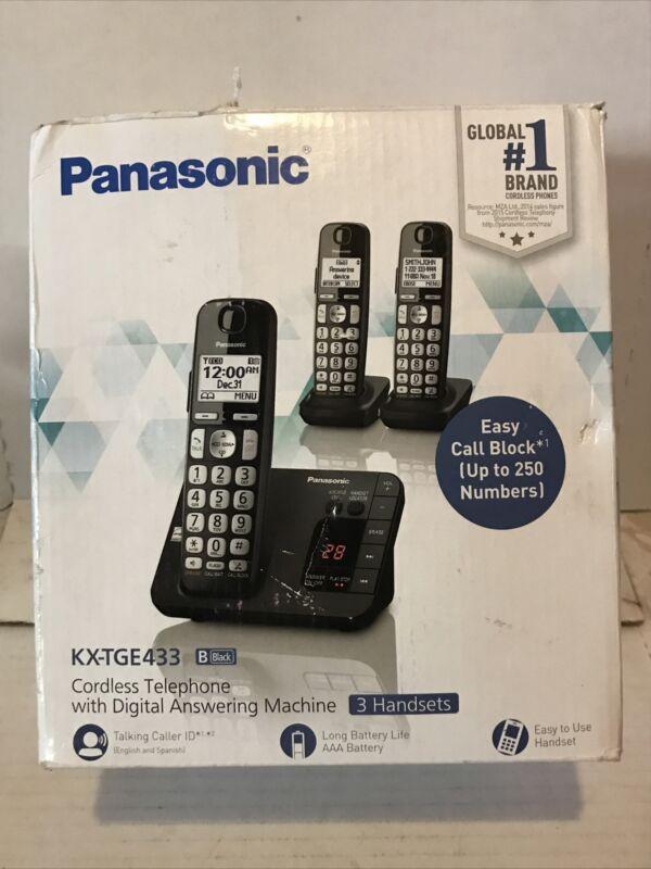 🍁 Panasonic 3 Handsets Telephone Digital Answering Machine KX-TGE433