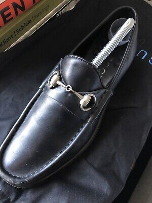 Gucci Mens Black Leather Horsebit Loafers EU41