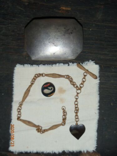 Mid 19th century Sailor made watch chain with Silver container and Whale button.