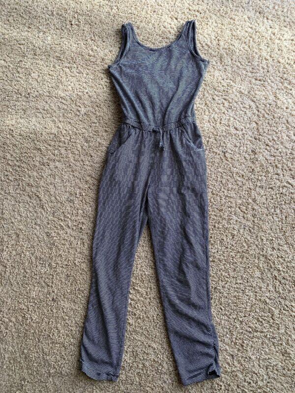 Girls One Piece Long Pant Tank Jumper Size L 10/12 Black White Stripe Sleeveless
