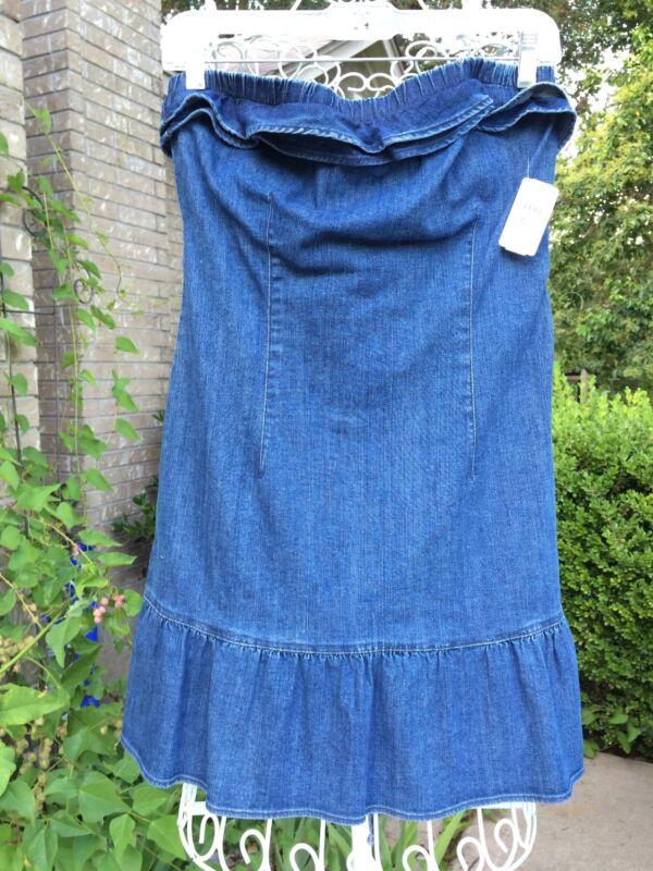 NWT JUICY COUTURE BLUE DEMIN RUFFLE TUBE DRESS   NWT SIZE M  ORIG $112