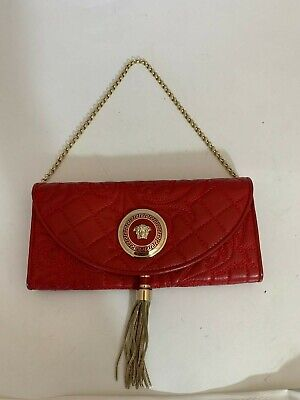 GIANNI VERSACE VANITAS 5120 RED QUILTED WALLET ON SHOULDER CHAIN W/TASSEL